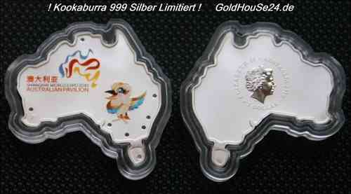 Kookaburra 2010 Shaped Coin Limitiert 1oz 999 Feinsilber