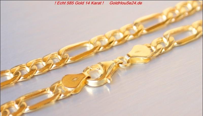 echt 585 goldkette figaro 14 karat gold kette goldhouse24. Black Bedroom Furniture Sets. Home Design Ideas